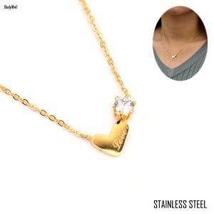 ゴールド LOVE ハート ステンレス ネックレス 金属アレルギー アレルギーフリー レディースアクセ プレゼント|bodywell