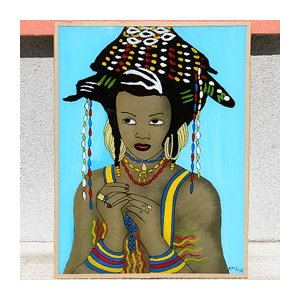 西アフリカ セネガル ガラス絵 No.20 アフリカンアート 絵画 壁飾り|bogolanmarket