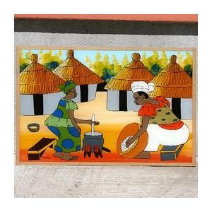 西アフリカ セネガル ガラス絵 No.7|bogolanmarket