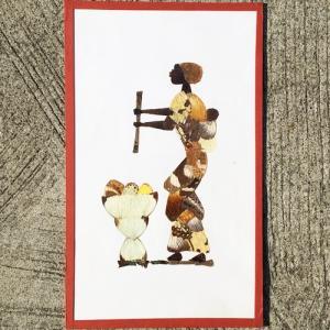 アフリカ リベリア 蝶画 (蝶の羽かざり) (23cmx38cm) No,1 バラフライアート|bogolanmarket