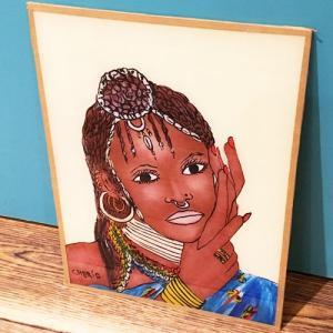 西アフリカ セネガル ガラス絵 No.1 アフリカンアート 絵画 壁飾り|bogolanmarket