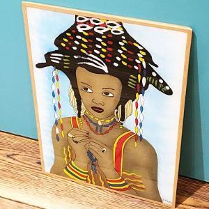西アフリカ セネガル ガラス絵 No.10 アフリカンアート 絵画 壁飾り|bogolanmarket