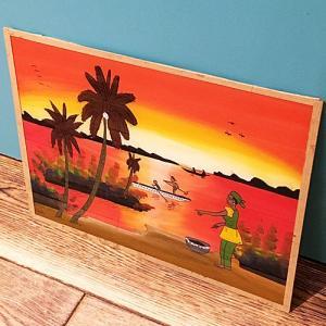西アフリカ セネガル ガラス絵 No.16 アフリカンアート 絵画 壁飾り|bogolanmarket