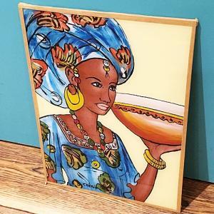西アフリカ セネガル ガラス絵 No.18 アフリカンアート 絵画 壁飾り|bogolanmarket