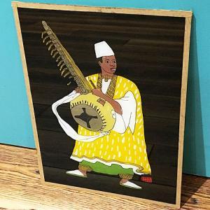 西アフリカ セネガル ガラス絵 No.19 アフリカンアート 絵画 壁飾り|bogolanmarket