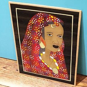 西アフリカ セネガル ガラス絵 No.4 アフリカンアート 絵画 壁飾り|bogolanmarket