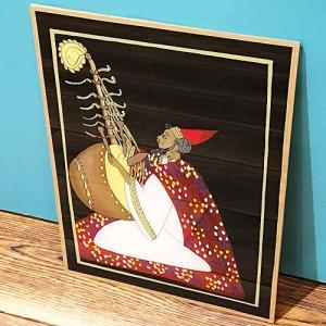 西アフリカ セネガル ガラス絵 No.5 アフリカンアート 絵画 壁飾り|bogolanmarket