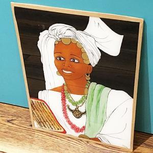 西アフリカ セネガル ガラス絵 No.8 アフリカンアート 絵画 壁飾り|bogolanmarket