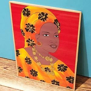 西アフリカ セネガル ガラス絵 No.9 アフリカンアート 絵画 壁飾り|bogolanmarket