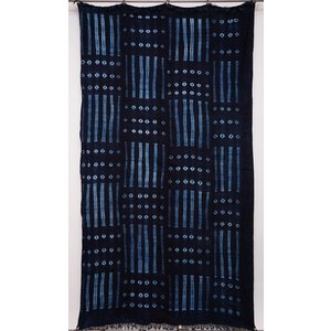 アフリカ ブルキナファソ 藍染め古布 (LL) No.5 テーブルクロス タペストリー 飾り布|bogolanmarket