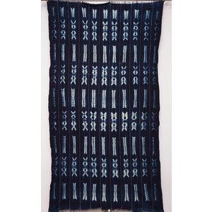アフリカ ブルキナファソ 藍染め古布 (L) No.8 テーブルクロス タペストリー 飾り布|bogolanmarket