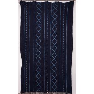 アフリカ ブルキナファソ 藍染め古布 (LL) No.9 テーブルクロス タペストリー 飾り布|bogolanmarket