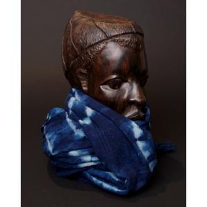アフリカ マリ共和国 手織り布 藍染め古布 絞り染め ショール  No.1 ストール マフラー 膝掛け しぼり染め|bogolanmarket