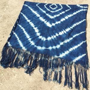 アフリカ マリ共和国 手織り布 藍染め古布 絞り染め ショール  No.2 ストール マフラー 膝掛け しぼり染め|bogolanmarket