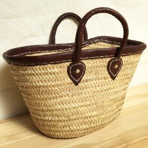 アフリカ モロッコ レザーパイピング付きカゴバッグ (Lサイズ) ピクニックバッグ|bogolanmarket