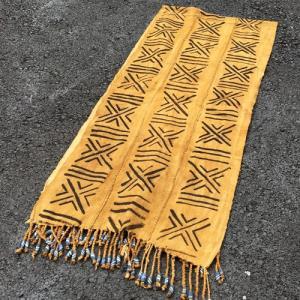 アフリカ マリ共和国 ボゴラン 3列帯 フリンジビーズ付き No.3 泥染め布 コットン 織布 飾り布 タペストリー bogolanmarket