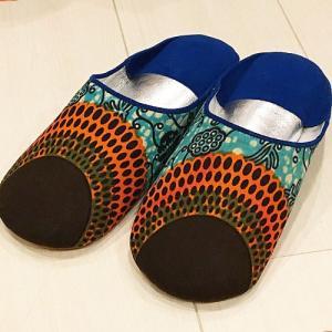アフリカ モロッコ パーニュ バブーシュ サイズ39(24〜25cm) No.10  スリッパ サンダル 室内履き ルームシューズ|bogolanmarket