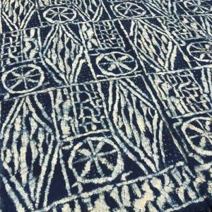 アフリカ カメルーン バミレケ布 藍染め クロス No.2 タペストリー 飾り布|bogolanmarket
