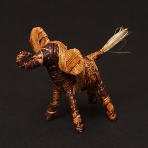 アフリカ ケニア バナナファイバー アニマル 動物 ゾウ (Sサイズ) 置き物|bogolanmarket
