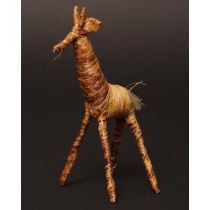 アフリカ ケニア バナナファイバー アニマル 動物 キリン (Mサイズ)|bogolanmarket