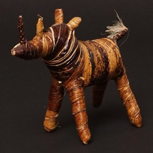 アフリカ ケニア バナナファイバー アニマル 動物 サイ (Mサイズ) 置き物|bogolanmarket