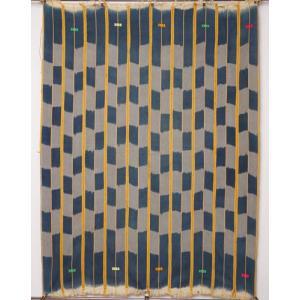 アフリカ コートジボワール バウレ 手織り 藍染め 腰巻き古布 No.5 飾り布 バウレ族|bogolanmarket
