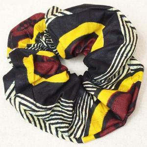 アフリカンワックスプリント シュシュ No.25 パーニュ アフリカ布 ヘアゴム ヘアアクセサリー |bogolanmarket