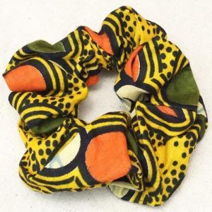 アフリカンワックスプリント シュシュ No.9 パーニュ アフリカ布 ヘアゴム ヘアアクセサリー |bogolanmarket