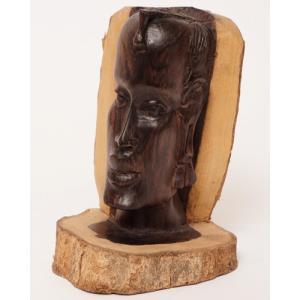 アフリカ タンザニア 黒檀彫刻 木彫り マコンデ 頭像A  オブジェ 彫刻|bogolanmarket