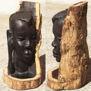 アフリカ タンザニア 黒檀彫刻 木彫り マコンデ 頭像B オブジェ 彫刻|bogolanmarket