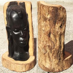 アフリカ タンザニア 黒檀彫刻 木彫り マコンデ 頭像C オブジェ 彫刻|bogolanmarket