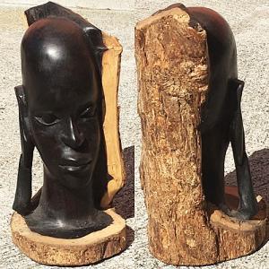 アフリカ タンザニア 黒檀彫刻 木彫り マコンデ 頭像D オブジェ 彫刻|bogolanmarket