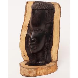 アフリカ タンザニア 黒檀彫刻 木彫り マコンデ 頭像E|bogolanmarket