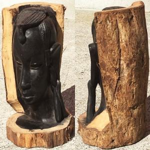 アフリカ タンザニア 黒檀彫刻 木彫り マコンデ 頭像I|bogolanmarket