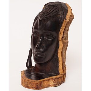 アフリカ タンザニア 黒檀彫刻 木彫り マコンデ 頭像L|bogolanmarket