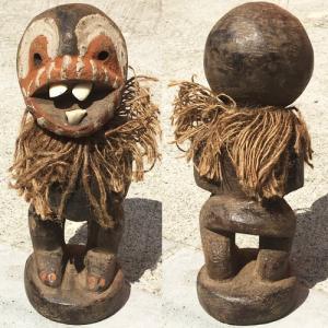 アフリカ ケニア カンバ 出っ歯人形 No,4 置物 オブジェ アート プリミティブ  木彫り|bogolanmarket