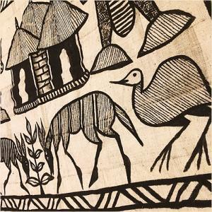 アフリカ コートジボワール ボゴラン コロゴ 生地 (L) No.3 泥染め布 コットン 織布 飾り布 タペストリー bogolanmarket
