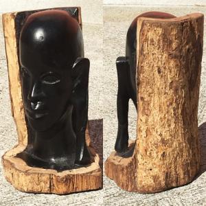 アフリカ タンザニア 黒檀彫刻 木彫り マコンデ 頭像K|bogolanmarket