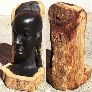 アフリカ タンザニア 黒檀彫刻 木彫り マコンデ 頭像 Y 木彫り|bogolanmarket