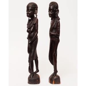 アフリカ タンザニア マコンデ彫刻 男女像 (DX) 木彫り 立像 黒檀|bogolanmarket