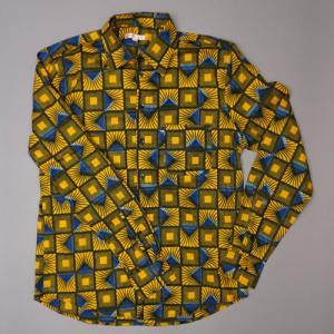 アフリカ マリ アフリカンワックスシャツ (長袖・Lサイズ)パーニュシャツ No.2|bogolanmarket