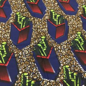 アフリカンワックスプリント 生地 パーニュ 布 No,96 (1ヤード(90cm)単位の切り売り布です。)|bogolanmarket