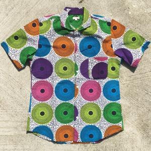 アフリカ マリ アフリカンワックスシャツ (半袖・Lサイズ)パーニュシャツ No.2|bogolanmarket
