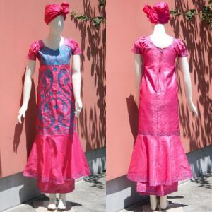 アフリカ セネガル バゼン 刺繍 ドレス アフリカンワックス No.1|bogolanmarket