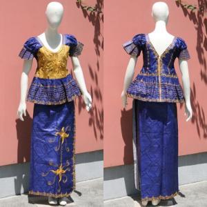 アフリカ セネガル バゼン 刺繍 ドレス アフリカンワックス No.2|bogolanmarket