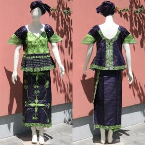 アフリカ セネガル バゼン 刺繍 ドレス アフリカンワックス No.3|bogolanmarket