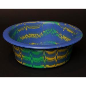 アフリカ セネガル プラスチック洗面器 No.2 カラフル マーブル 桶 バケツ|bogolanmarket