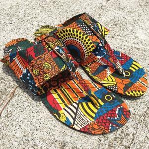 アフリカ セネガル アフリカンワックスプリント サンダル No,1 パーニュ  bogolanmarket
