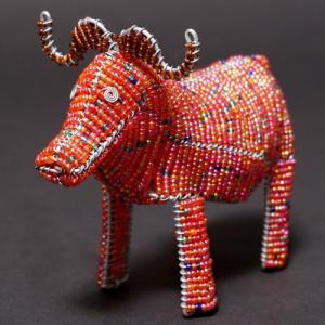 アフリカ ケニア ワイヤーアート ビーズアニマル (バッファロー)針金アート アフリカ雑貨 置物|bogolanmarket