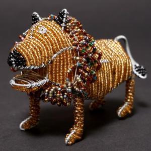 アフリカ ケニア ワイヤーアート ビーズアニマル (ライオンA)針金アート アフリカ雑貨 置物|bogolanmarket